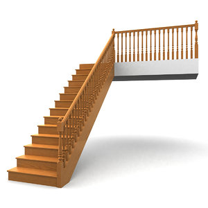 3d max wooden staircases step