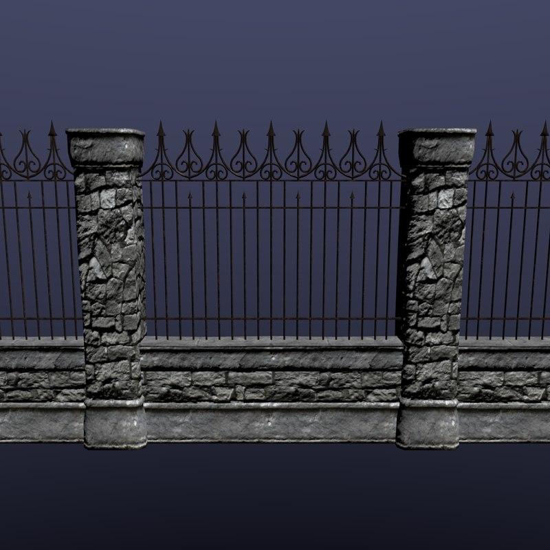3d stone wall set ready