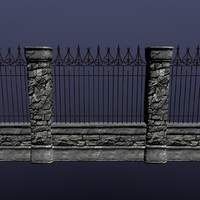 3d stone wall set ready