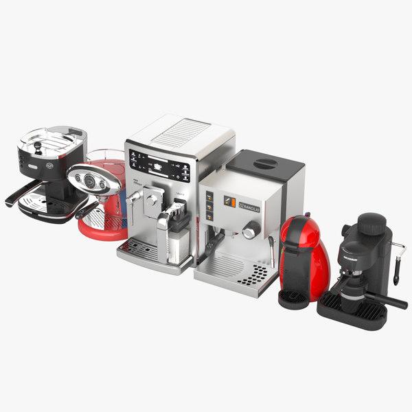 3d model espresso machine 6 packs