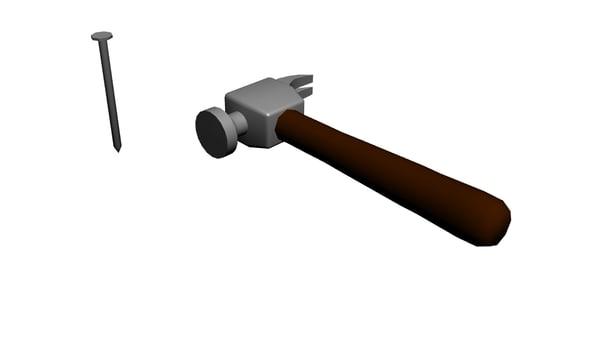 free hammer nail 3d model