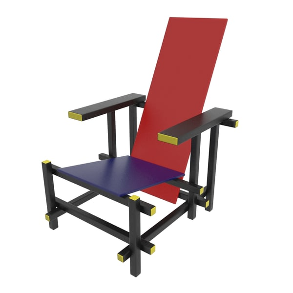 rietveld red blue chair 3d max
