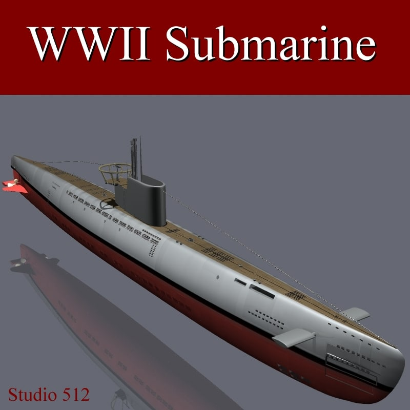 3d obj world war submarine