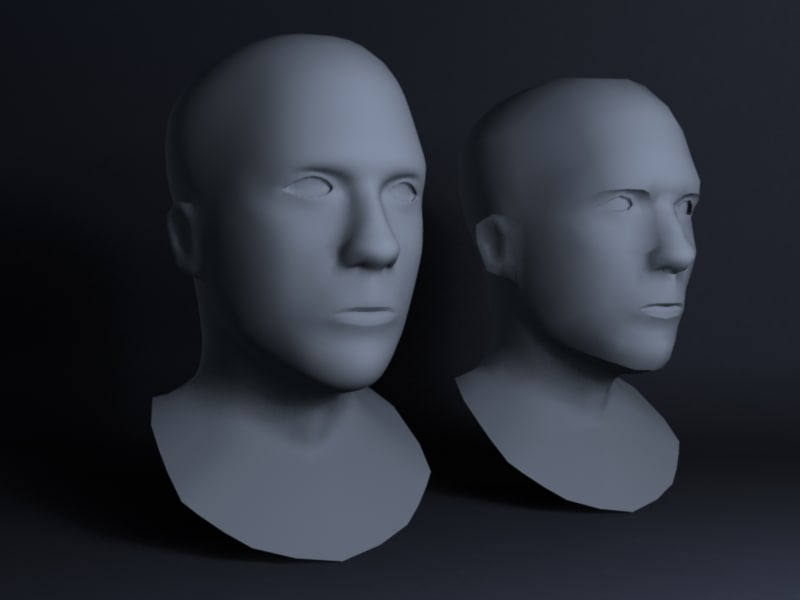 3d basic male heads model