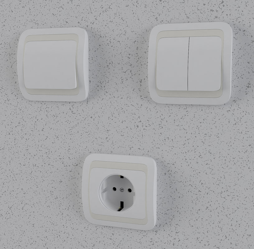 3d model electric switches outlet