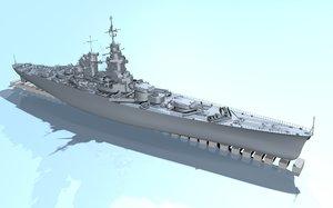 french battleship richelieu 3d model