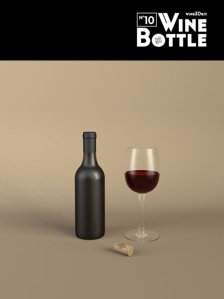 3d model bottle 10 wine