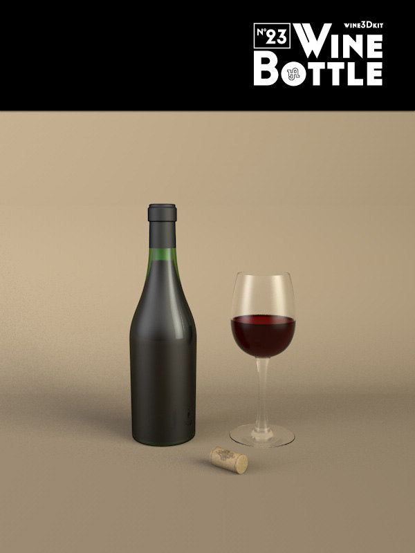 3d bottle 23 wine