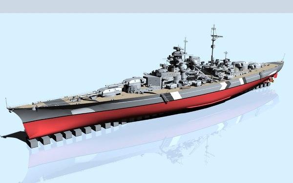 battleship bismarck 3d model