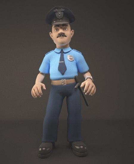 3d character man policeman