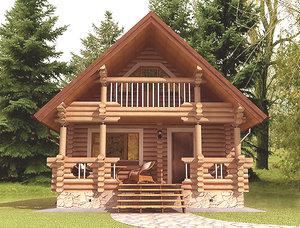 3d wooden house model