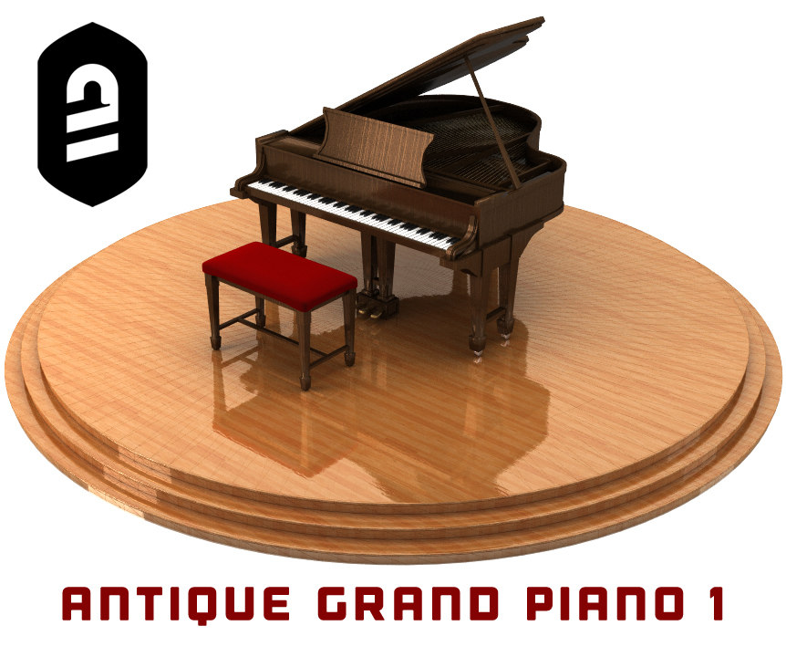 antique grand piano 1 3d obj