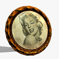old circle picture frame obj