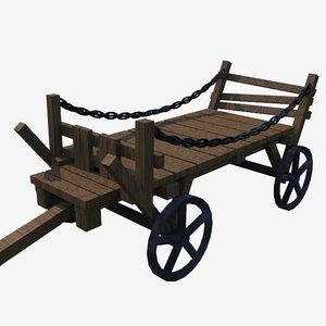 low-poly cart 3d 3ds