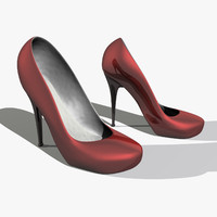 3d model red heel pumps