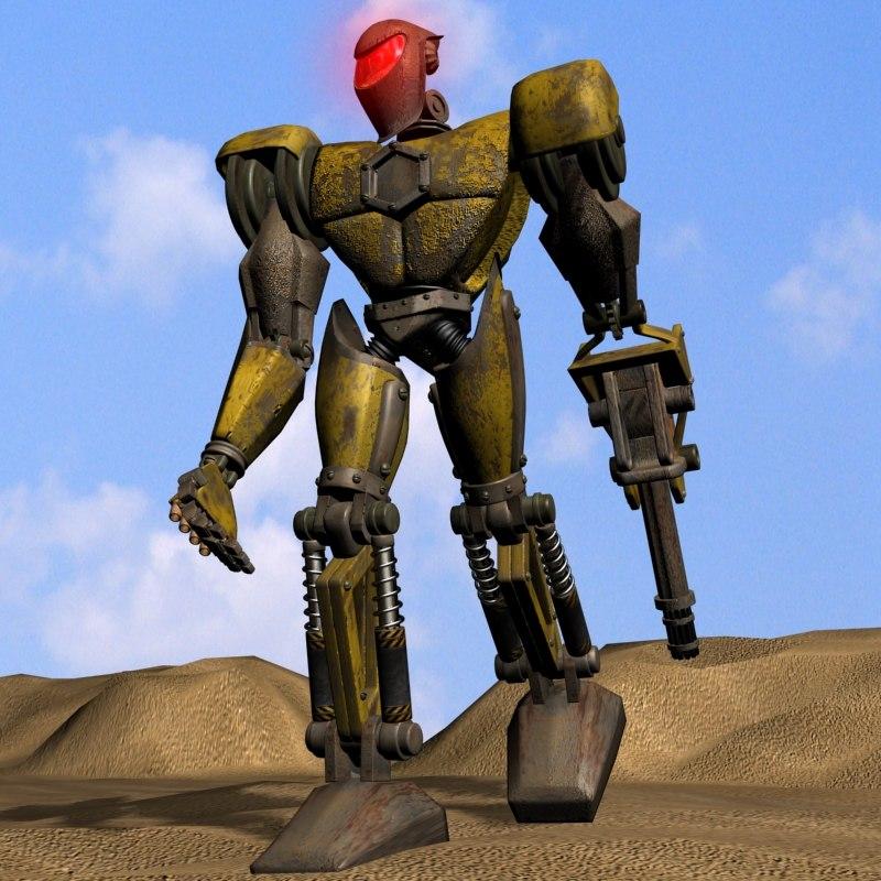 3d model detailled robot rigged