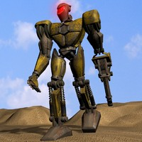 3d model detailled robot rigged