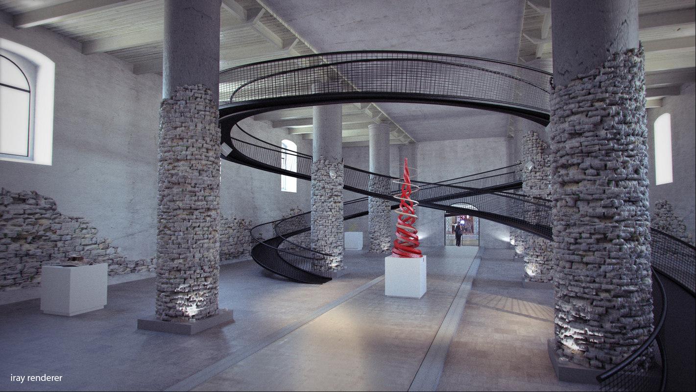 obj museum interior scene car