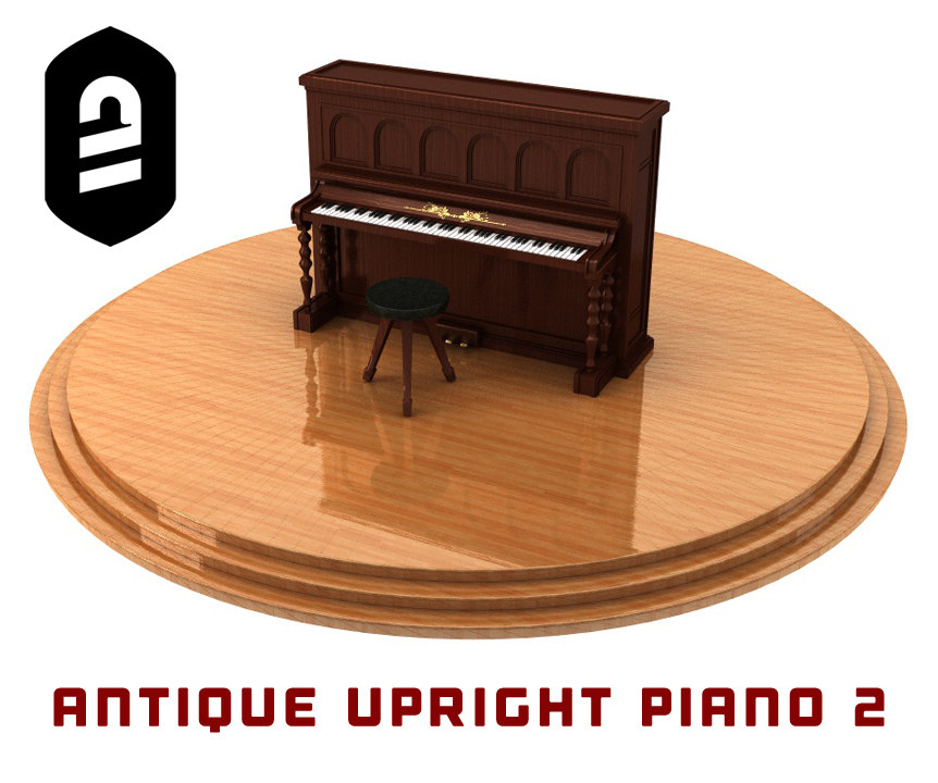 c4d antique upright piano 2