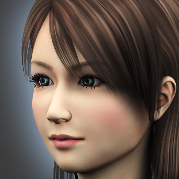 female girl human 3d model