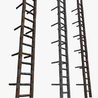 metal ladder old 3d model