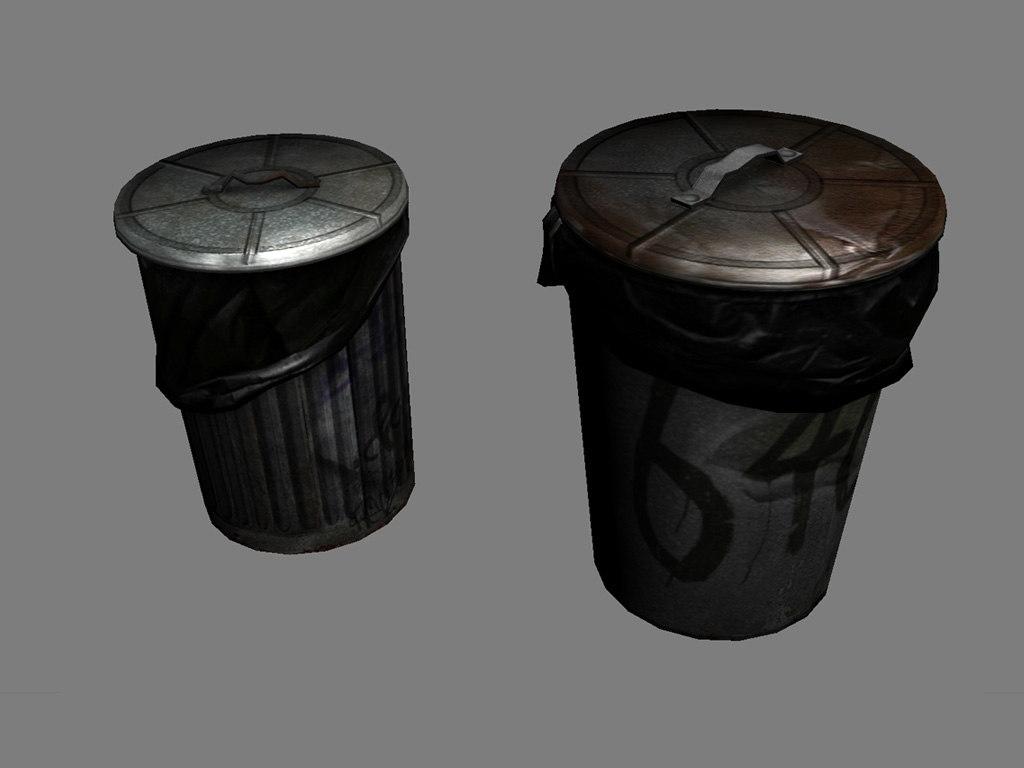 3d garbage barrels model