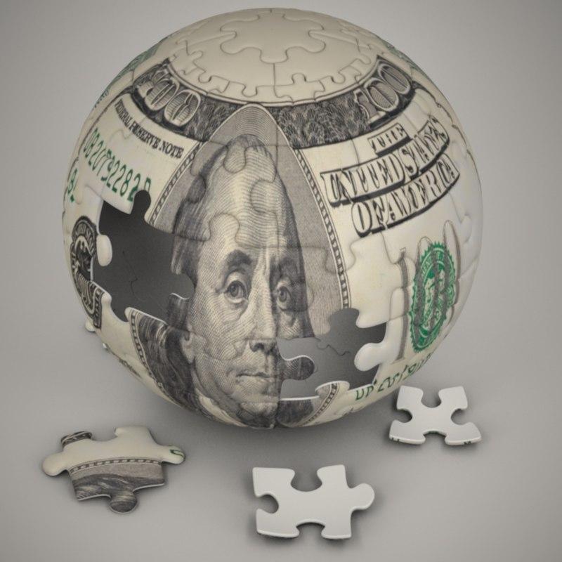 puzzle dollar bill 3d c4d