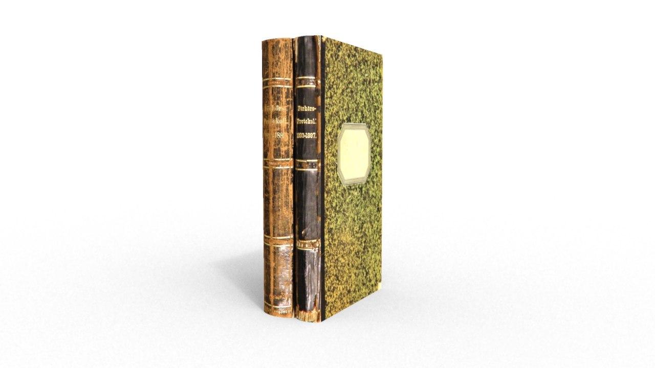 old books 3d obj