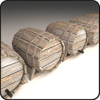 wooden barrel 3d obj
