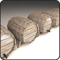wooden barrel 3d obj