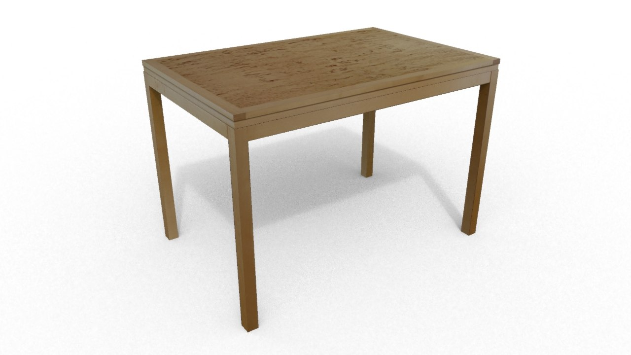 3d model of designed birch wood table