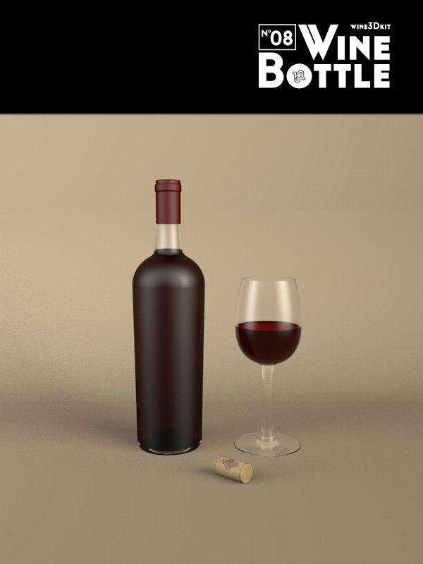 bottle 08 wine 3d 3ds