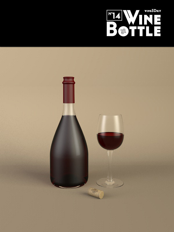 3d bottle 14 wine