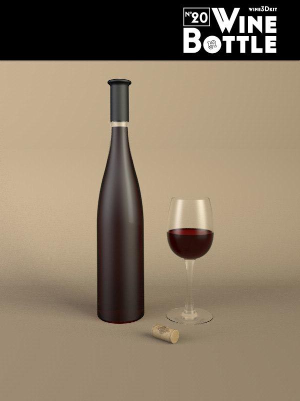 3d model bottle 20 wine