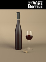 3d model bottle 20 wine