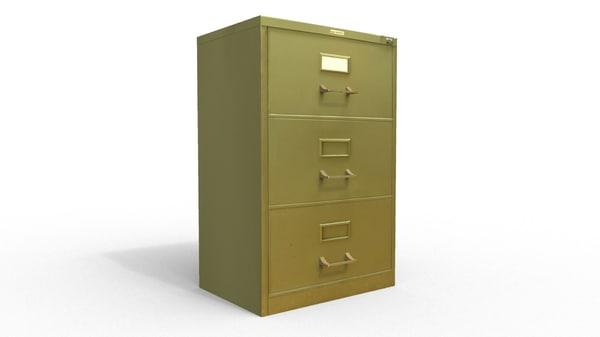 gray file cabinet 3d model