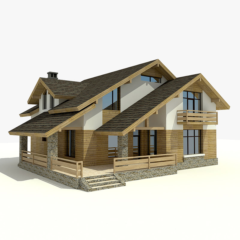 house village mountains 3d max