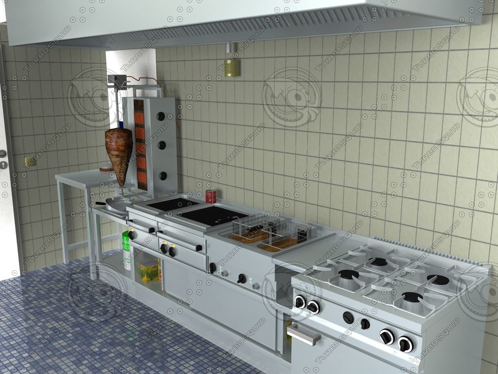 commercial kitchen 3ds