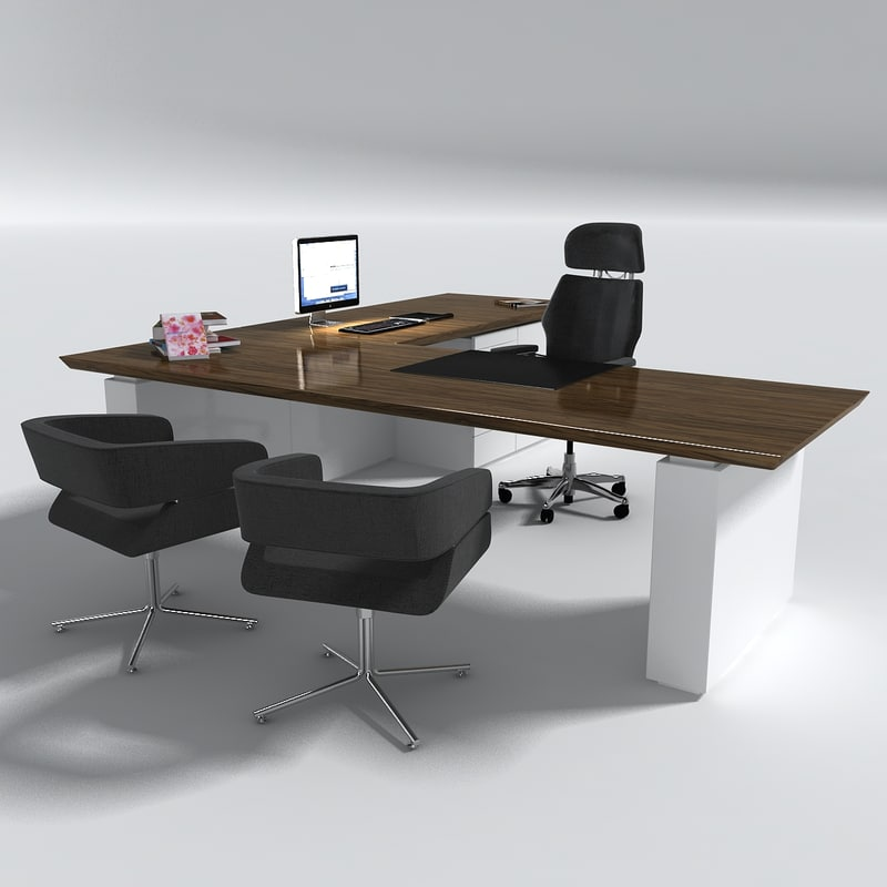 Manager office desk table set 3d model for Table 20 personnes