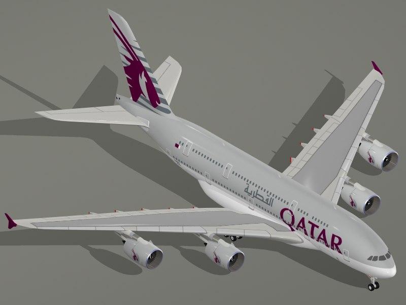 3d airbus a380-800 qatar airways model