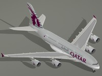 3d airbus a380-800 qatar airways model