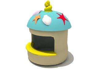 3d cartoonish hut model