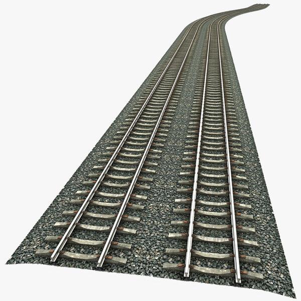 train railway railroad 3d model