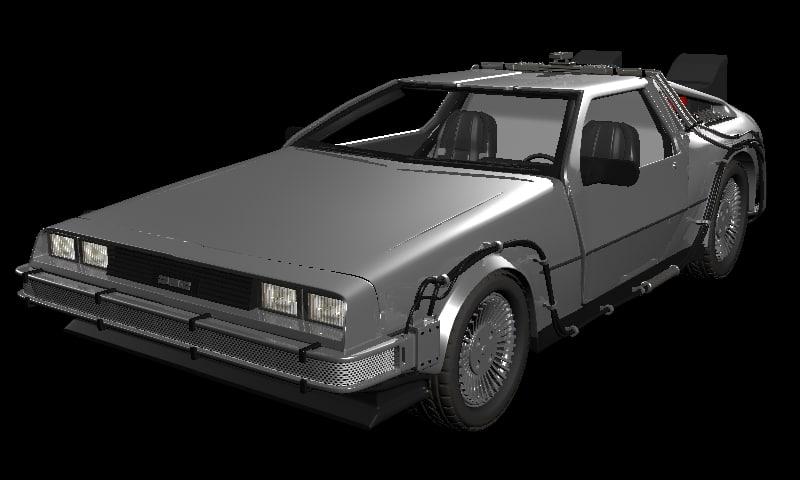 delorean future 3d model