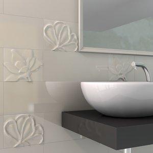 c4d decorated tiles bathroom