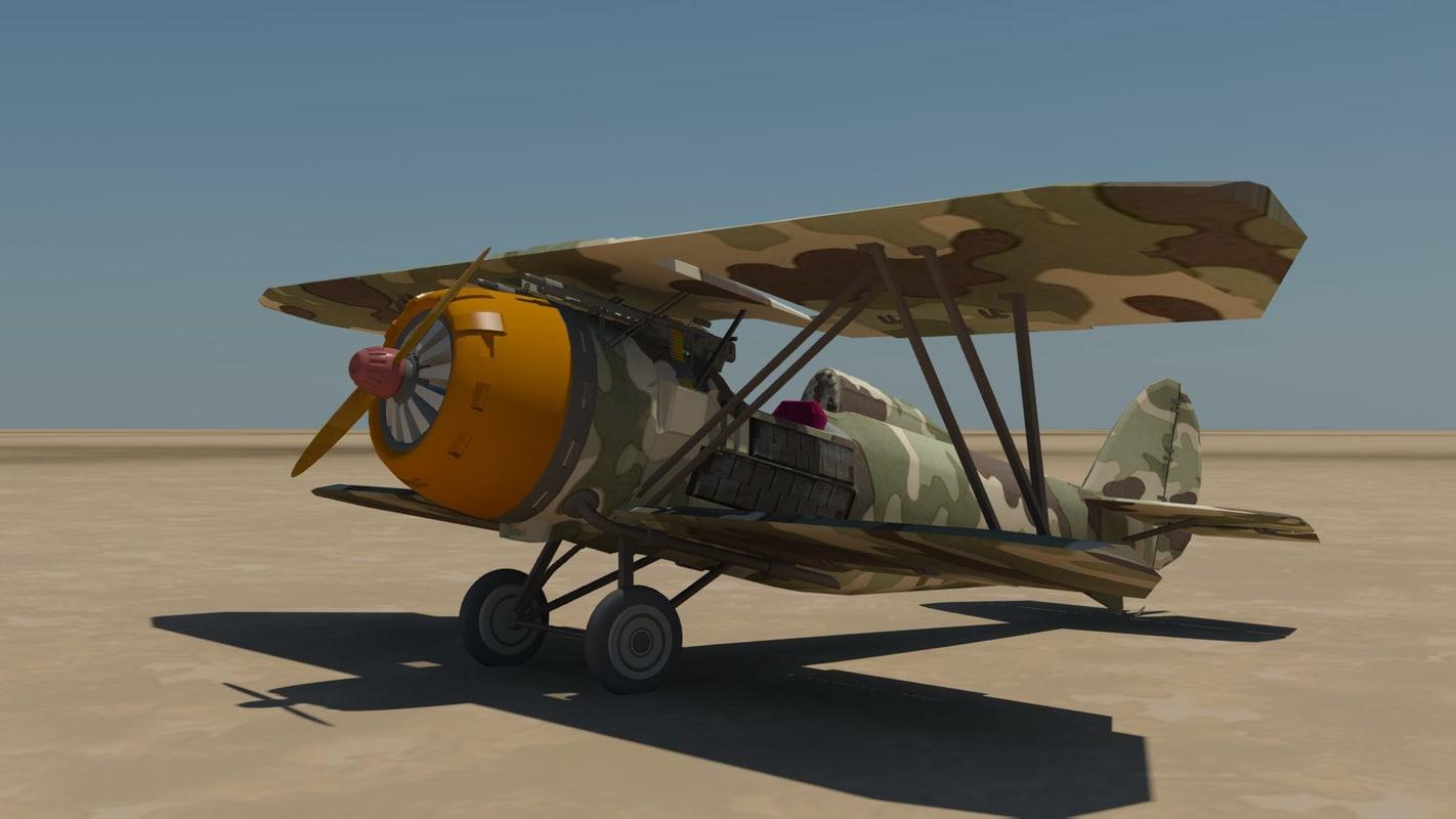 3d model of biplane