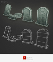 Low Poly Grave Stone 01
