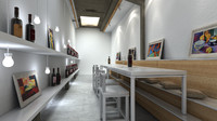3d model wine bar interior scene