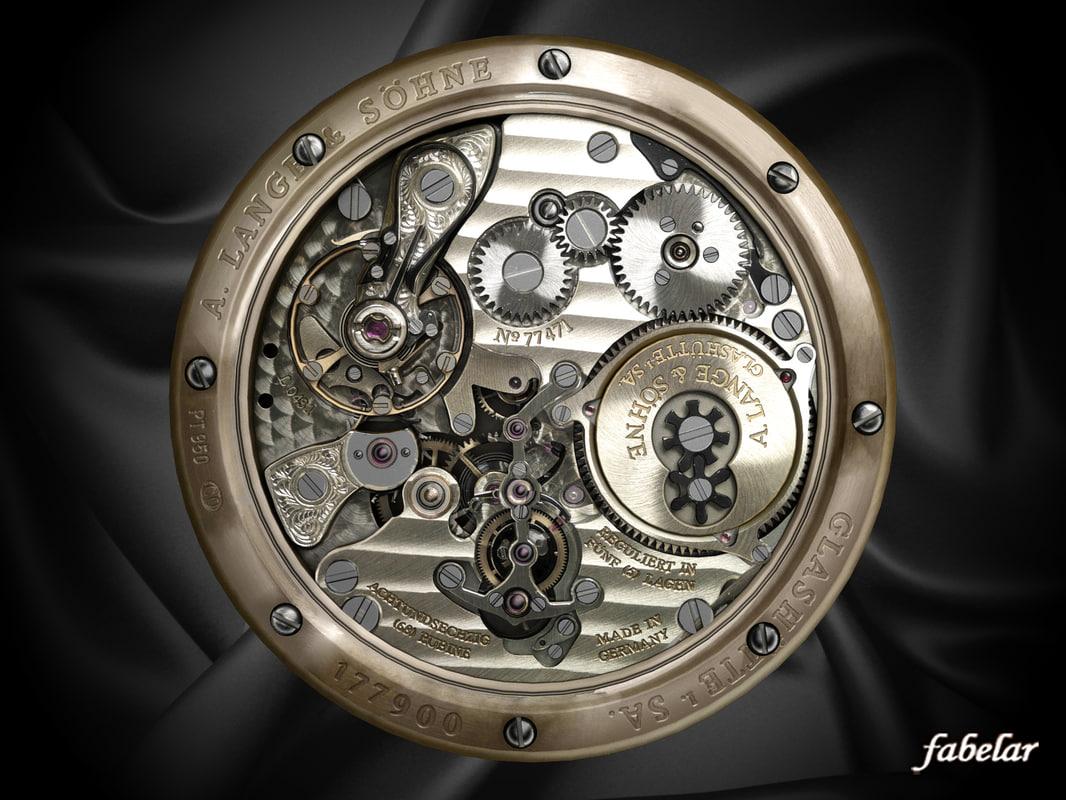 lange watch mechanism wristwatch 3d max