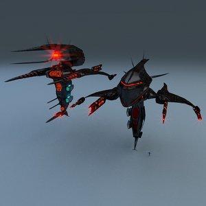 3d alien gunship weapons model